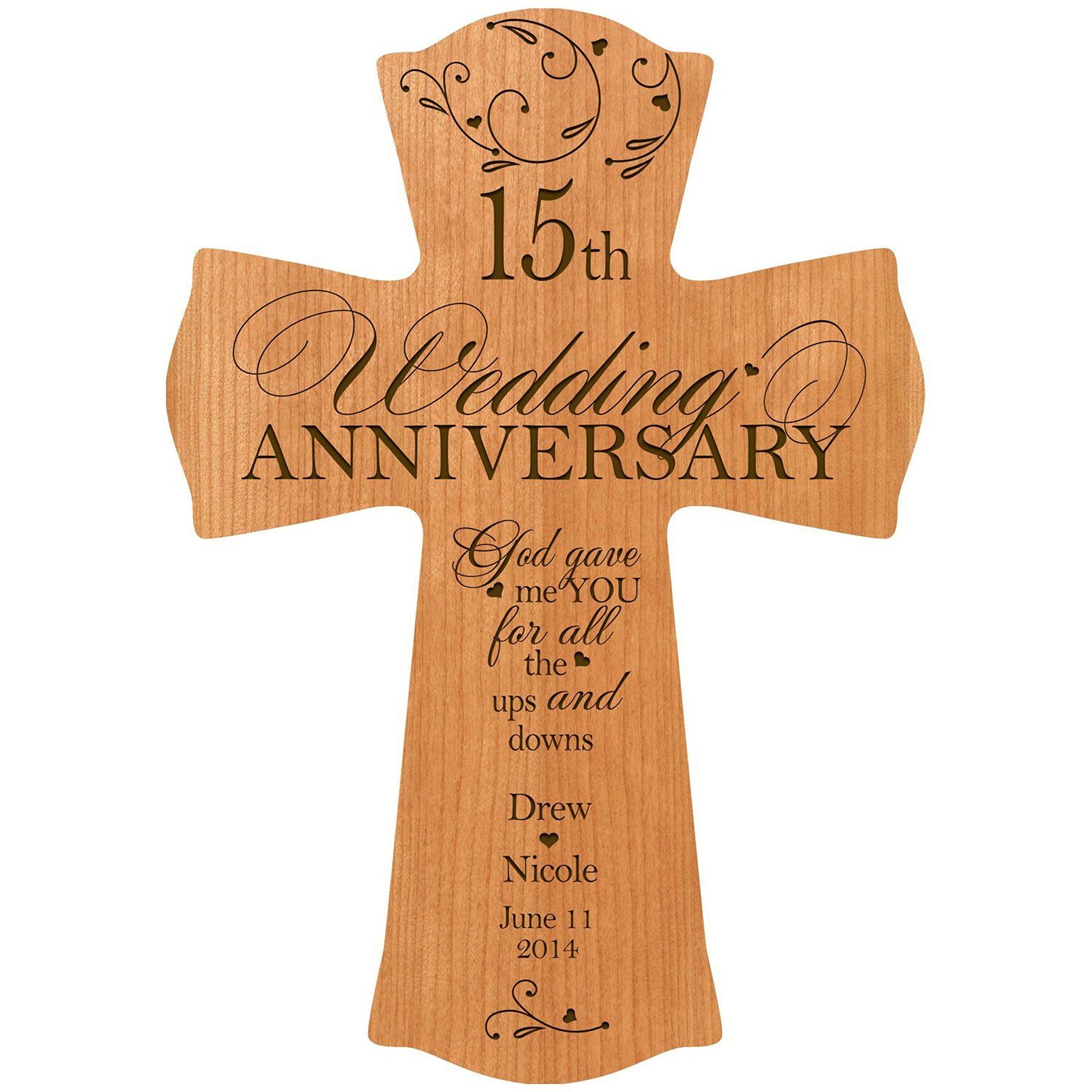 Buy Personalized 15th Wedding Anniversary Wood Wall Cross Gift For