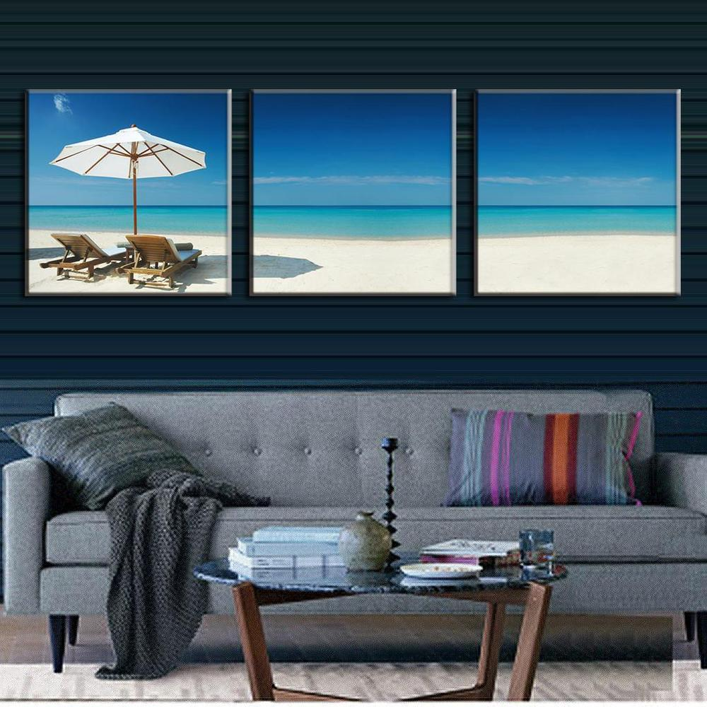 3 Pieces Modern Oil Painting On Canvas Beach holidays paint picture Oil Beach Painting decoration home picture wall canvas