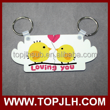 2017 beautiful sublimation key chain for couples gift