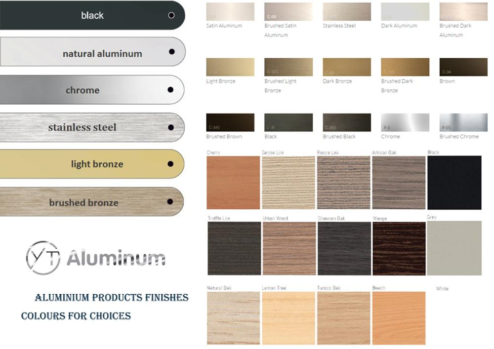 aluminium products finishes colours