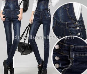 The spring and autumn period and the new removable denim overalls/ladies loose show thin jumpsuits