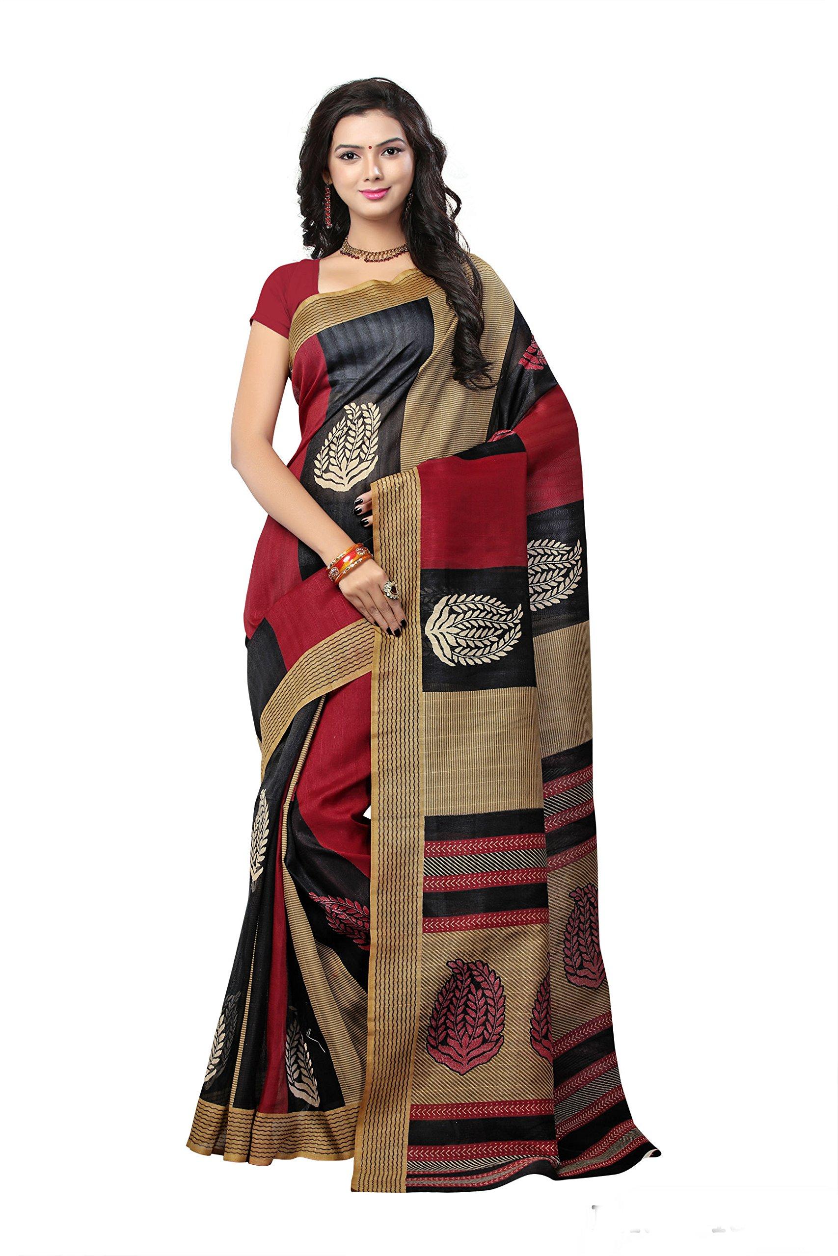 cf1a80b44a21e7 Get Quotations · Jaanvi Fashion Designer Red Bhagalpuri Silk Printed Saree