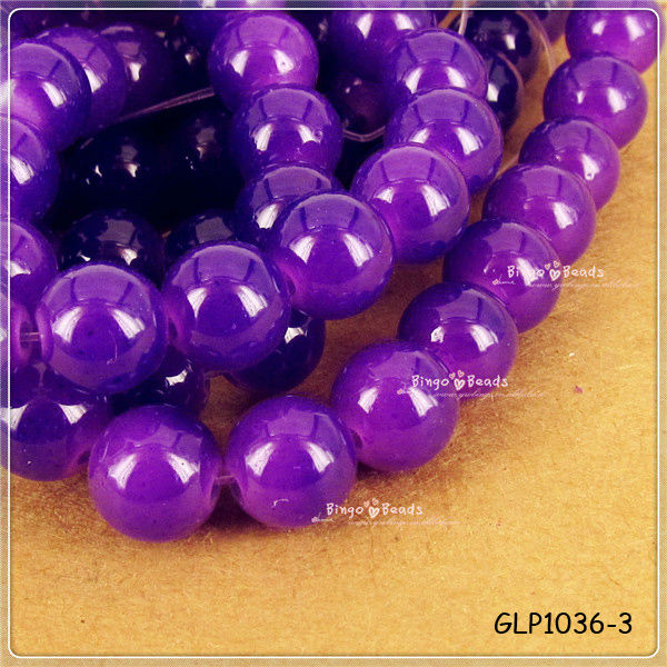 Neon Glass Bead Rock Candy Crystal 8mm Round Solid Neon Purple