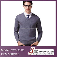 Warm and soft V neck men knitting jumpers pure sweater