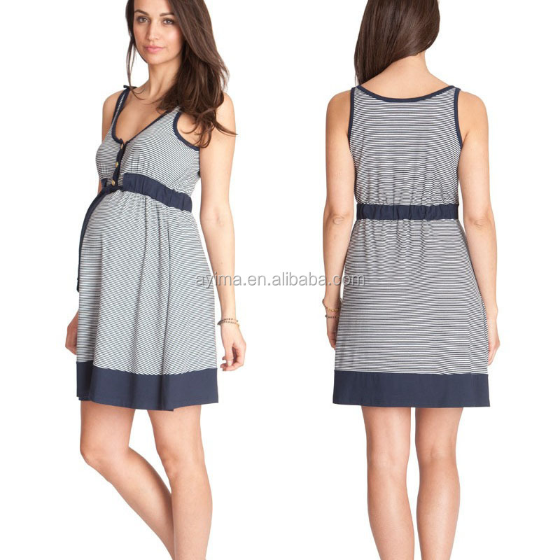 Nautical Striped Maternity Dress Front On Sleeveless Dresses For Office