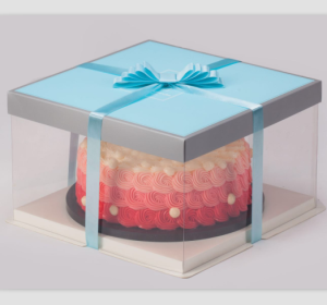 Manufacturer Clear PVC PET transparent plastic cake box for birthday