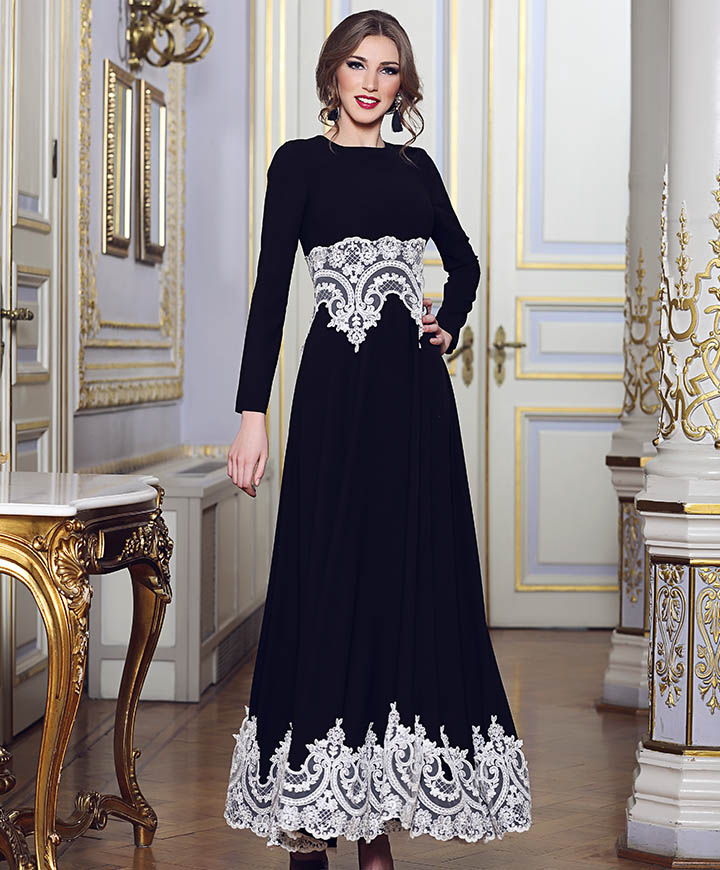 Elegant Long Sleeve Wedding Dress Muslim Dress 2015 Simple: Caftan 2 Styles Long Elegant Saudi Arabic Islamic Dress