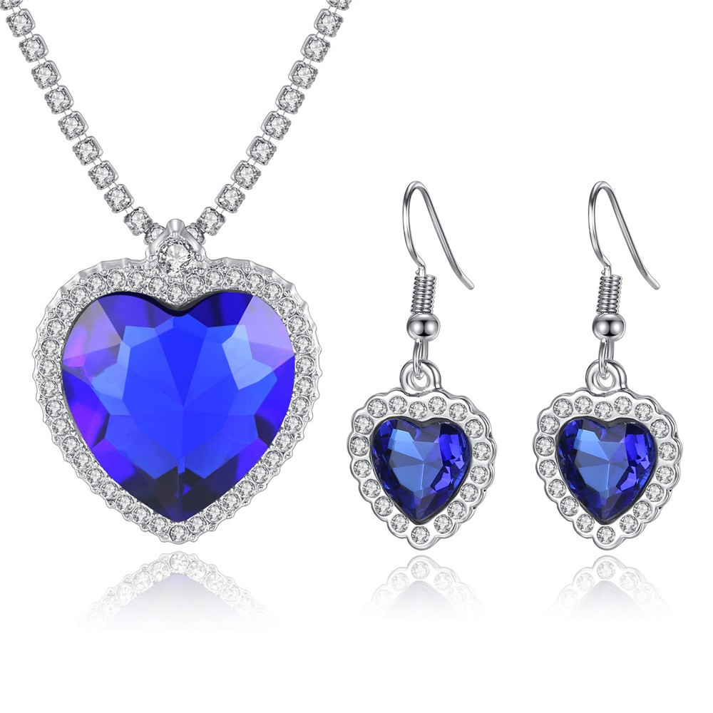 Wholesale Classic fashion necklace earring set Titanic Heart of Ocean Crystal jewelry set N0021