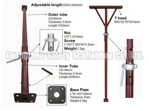 Adjustable Jack Posts : American type adjustable steel jack post shore for