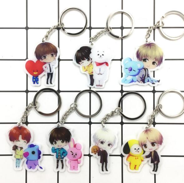 Hot sale kpop lanyard keychain bts lovely face keychain personalized acrylic key chain