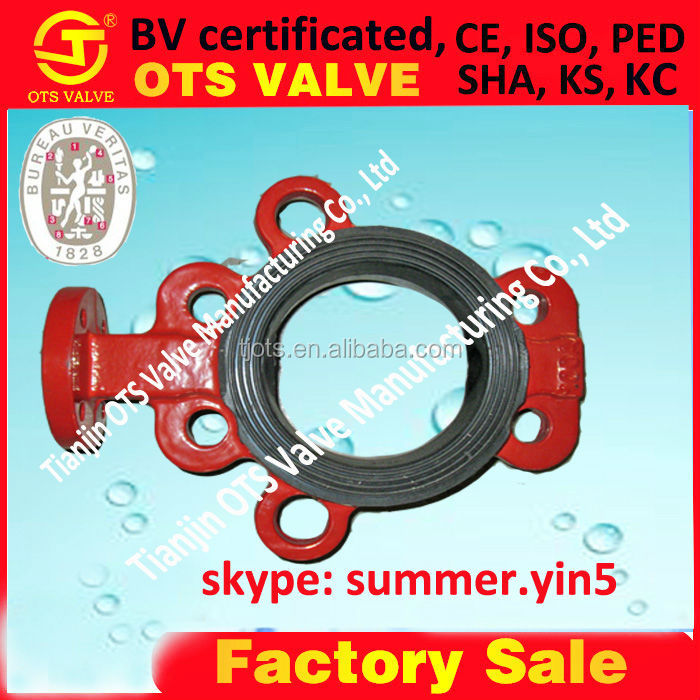BV-SY-336 vulcanized rubber seat wafer or double flange butterfly tpye for water oil <strong>gas</strong>
