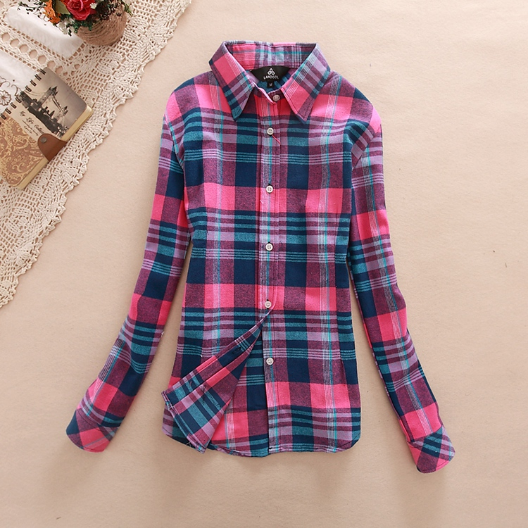 18 Colors Plaid Shirt Women Clothing 2016 New Long Sleeve