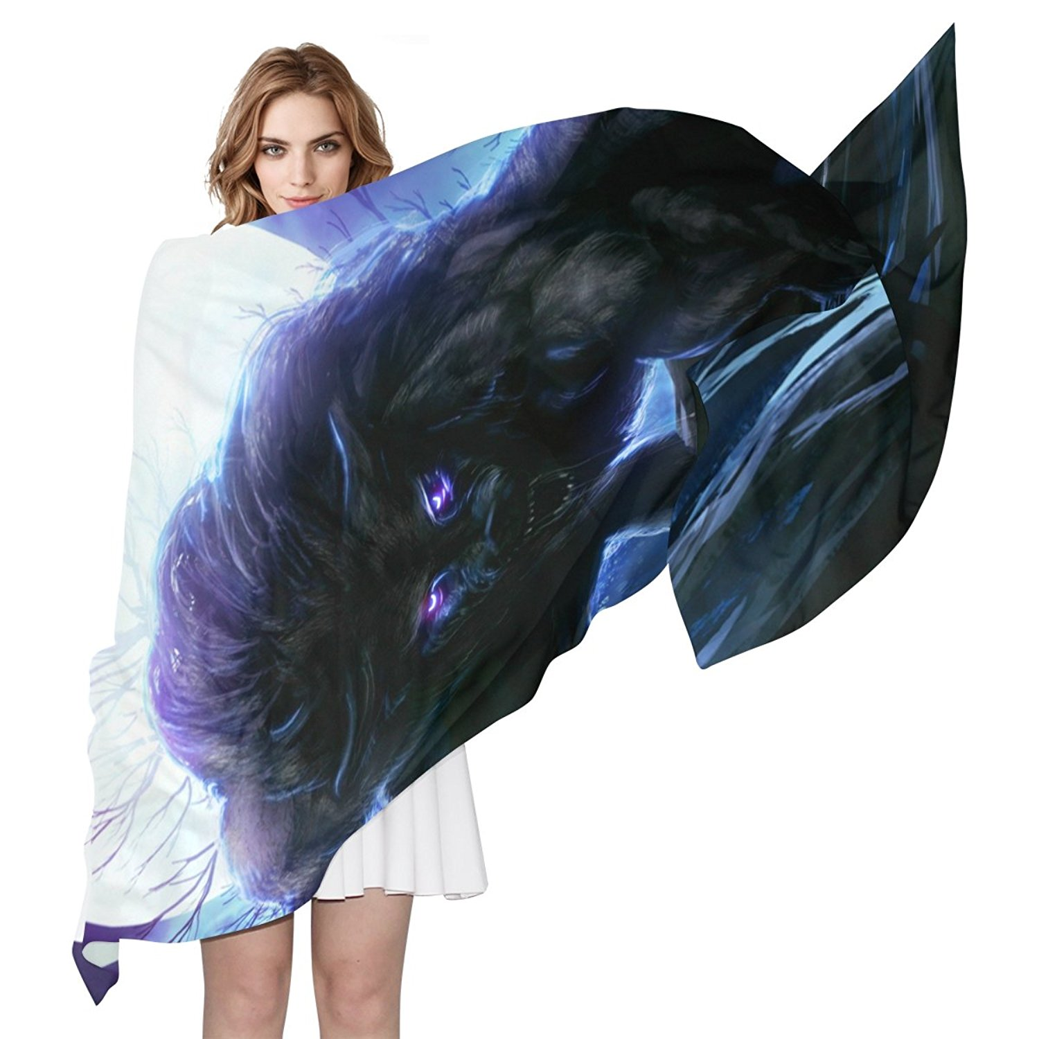 Women Moon Wolf Tree Night Starry Sky Scarf, JSTEL Elegant Fashion Ladies Soft Wrap Shawl Chiffon Neckerchief