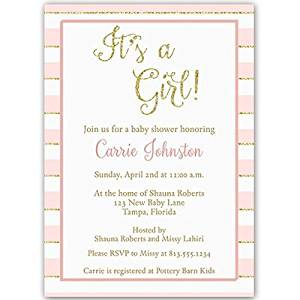 It's a Girl, Pink and Gold Glittering Stripes, Baby Shower Invitation, Pink, Gold, Sparkle, Sprinkle, 10 Custom Printed Invites with White Envelopes,