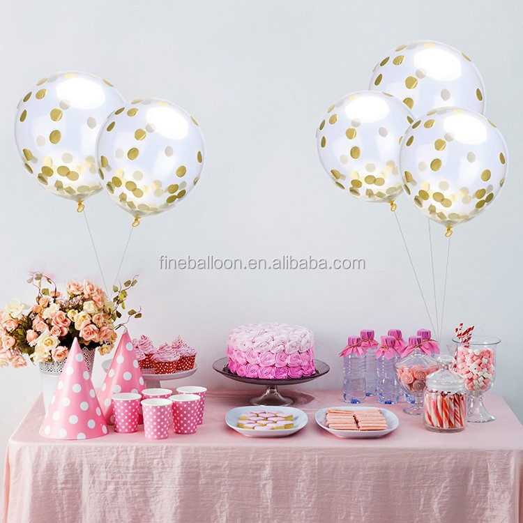 clear transparent round latex confetti balloons for wedding favor party decorations