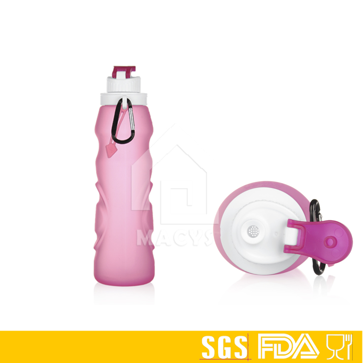550ml soft collapsible silicone water bottle