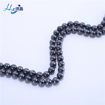 Latest design factory price round shape glass freshwater tahitian black pearl for necklace making