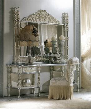 ancient castle natural floral and vine designed dressing table set antique silver color dressing table
