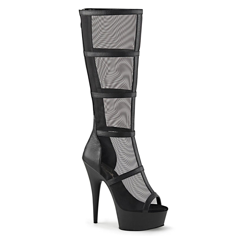 fbbb2fb28c Get Quotations · Summitfashions Womens Black Knee High Boots Mesh Panels  Caged Heels Platform 6 inch Heels