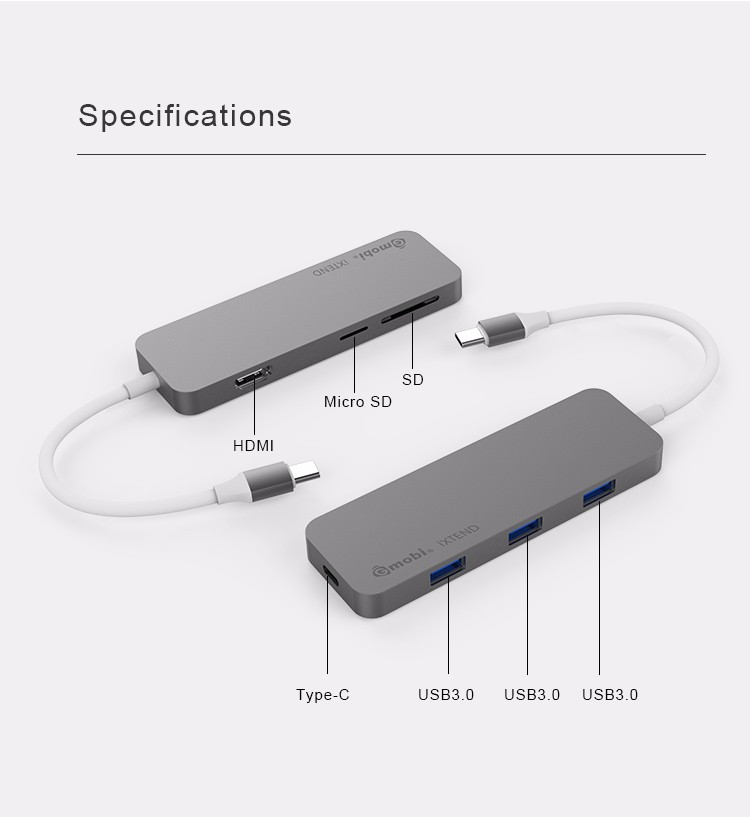Gmobi Wholesale OEM usb 3.1 type c hub with card reader 7 ports usb3.0 hub for MacbookPro