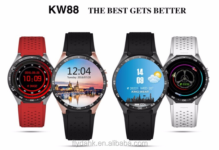 2016 3G wcdam android 5.1 smart watch phone kw88 GPS WIFI 3Gb mtk6580 quad core round touch screen smarwatch kw88.