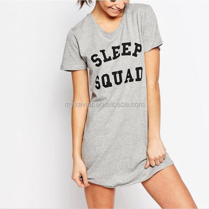 49471d41f0 Camisa de noche para dormir con escote redondo y diseño impreso sexi nighti  vestido de dormir
