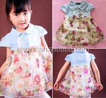 C62495A Girls washed denim stitching printed dress for kid