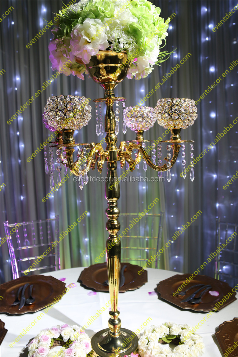 Crystal Gold Candelabra Centerpieces With Flower Bowl Crystal Candelabra For Wedding Decor
