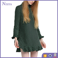 Modern cheongsam dot pattern dresses for young ladies