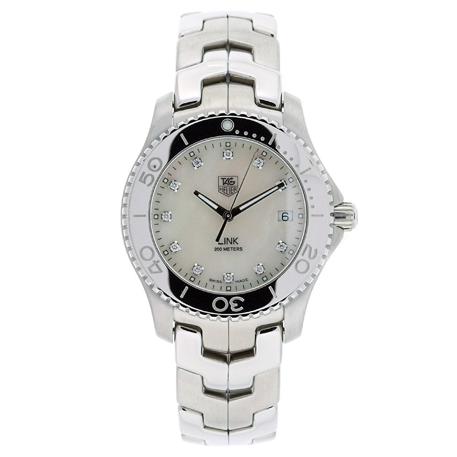 TAG Heuer Men's WJ1114.BA0570 Link Stainless Steel White Mother-of-pearl Diamond Dial Watch