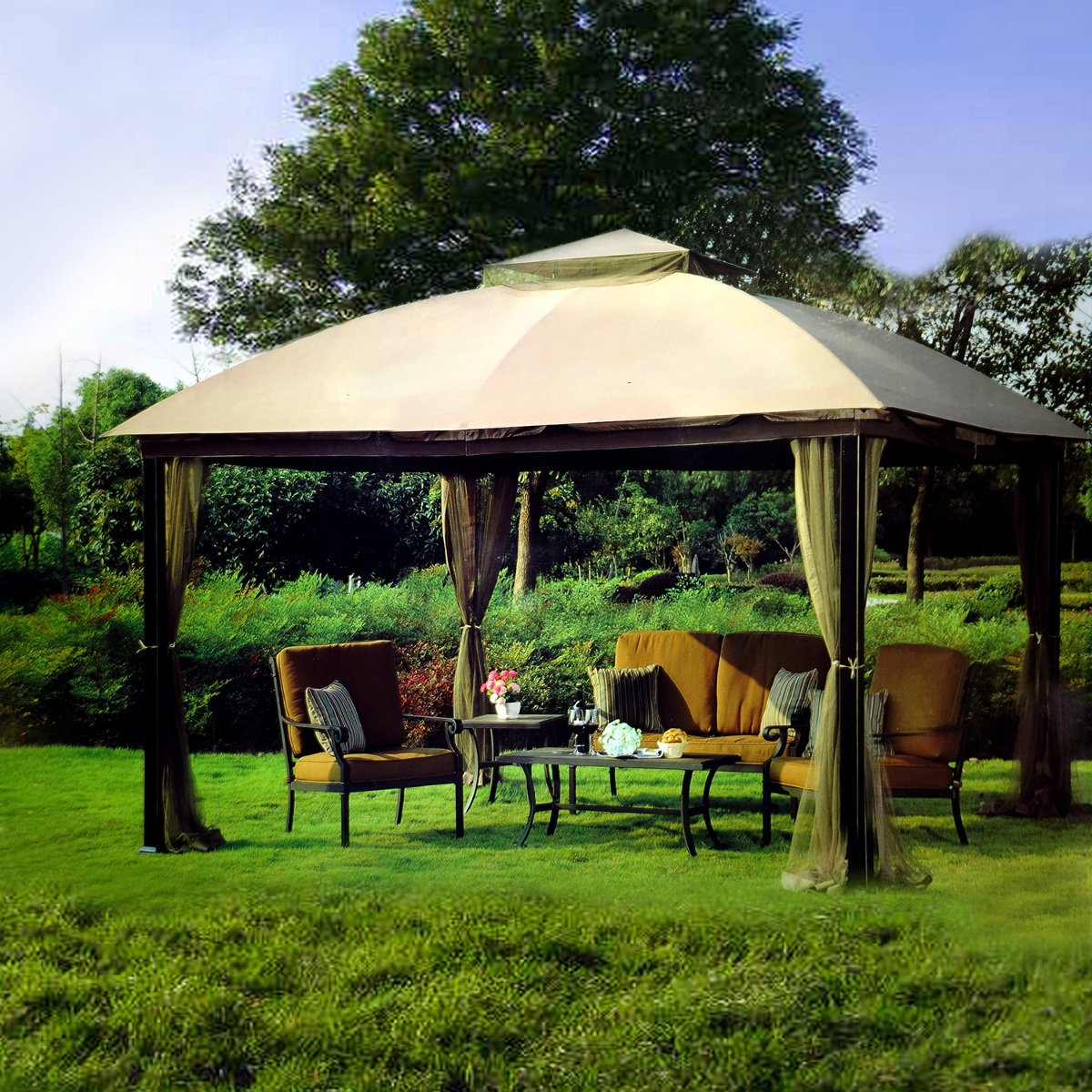 Get Quotations · Sunjoy 10 X 12 Malibu Patio Gazebo With Mosquito Netting