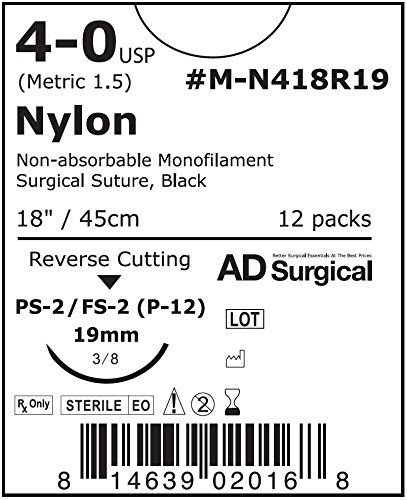 "UNIFY Surgical Nylon Sutures. #M-N418R19 Non-absorbable. Mono Black. Size 4/0. 18"" 45cm Thread. 19mm 3/8 Circle R/C Needle (FS-2). 12 Foil Packs/Box."