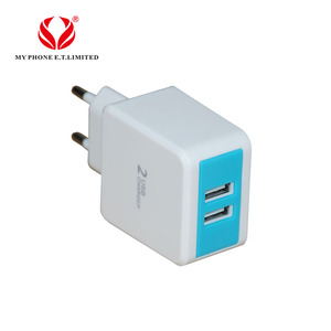 Make custom EU / US 2 usb ports wall charger plug quick charge fast travel bulk phone charger