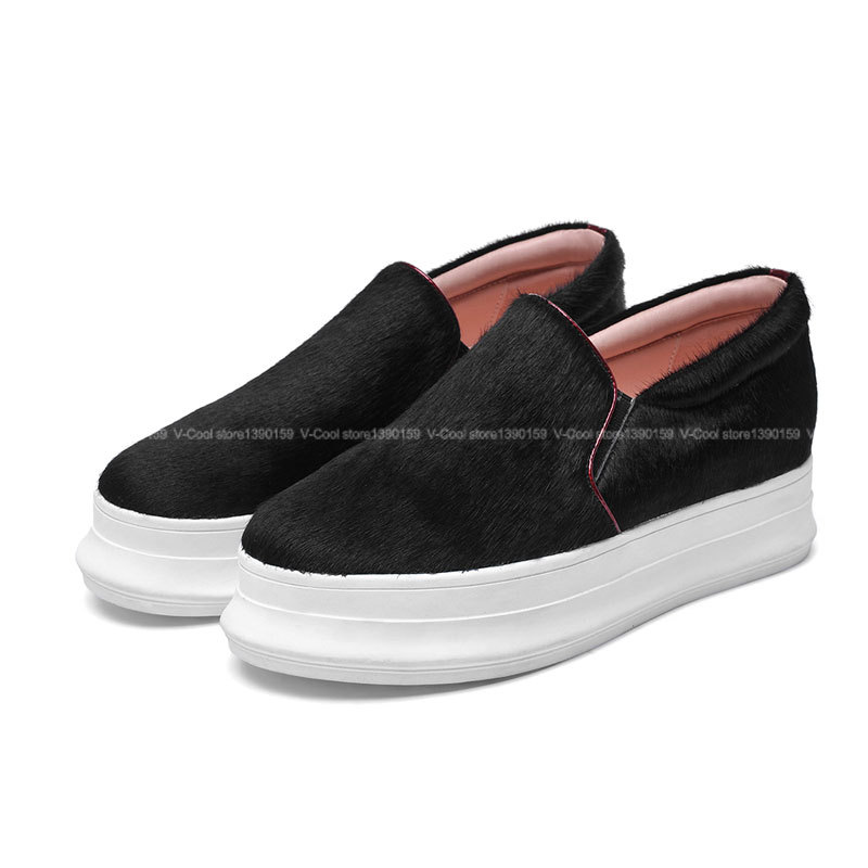 2015 Woman Horsehair Creepers Female Flat Platform Loafers Womens Soft Shoes Women Platform Flats Slip On Sapato Feminino