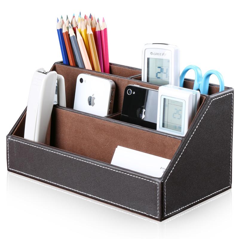 Office Storage Desk Organizer Leather Storage Box