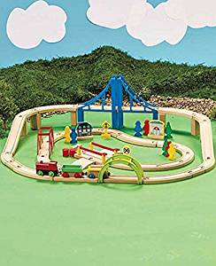 Wooden train set railway toy, 60 piece compatible with most tracks and Thomas the train wooden railway sets