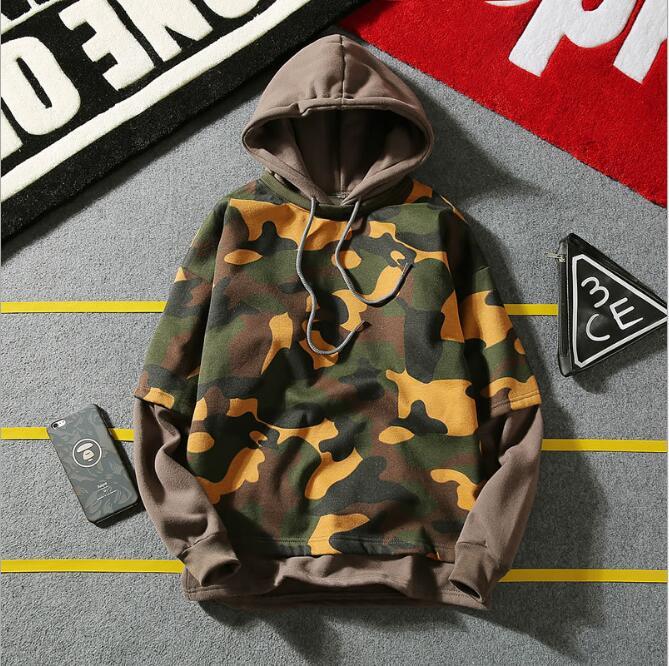 Autumn new men stitching camouflage hoodie Long sleeve blazer for men's hooded tops
