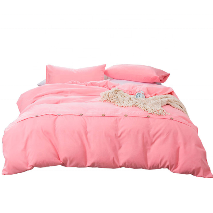 solid color microfiber polyester sanding bed linen duvet cover with button bedding set