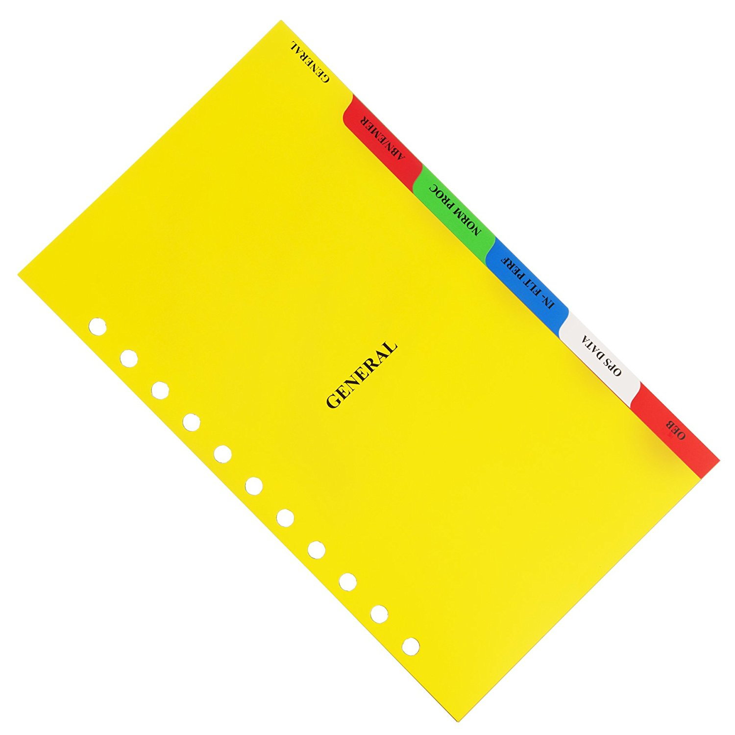 Aerobind 11 Hole Airline Compatible QRH Divider Tabs - 6 Tear-Resistant Synthetic Paper Index Tabs