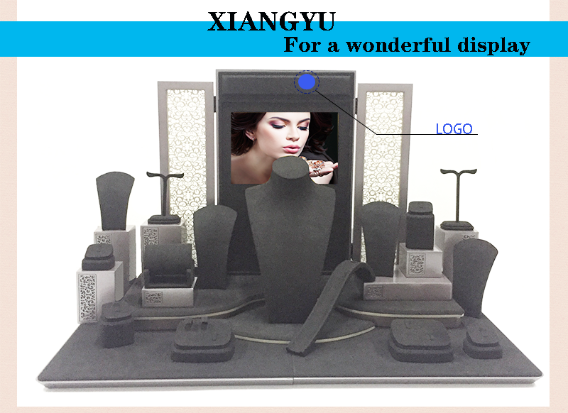 XIANGYU 공장 도매 Custom Luxury Painting 나무 플란넬의 Jewelry Display 서 Set
