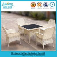 Small Space Rattan 4 Seats Dining Table And Chairs Wicker Outdoor Furniture