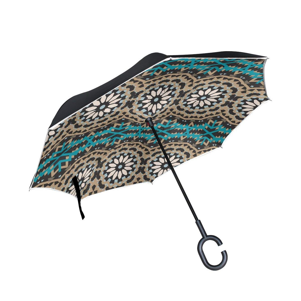 ALAZA Double Layer Inverted Reverse Umbrella Colorful Bohemian Windproof Car Rain C-shapped Handle Automatic