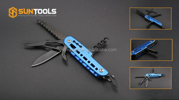 Delicate pattern design multi function folding pocket knife with black oxide finish accessories