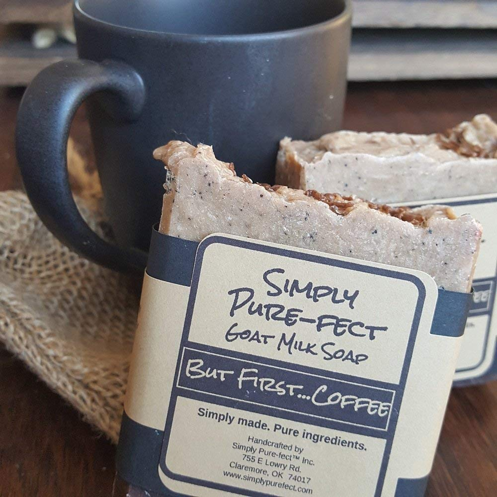 But First.Coffee Goat Milk Soap - 2 Pack - Handmade Natural Soap, Long Lasting with Luxurious Lather. Rustic Appearance, with Five Star Fragrance!