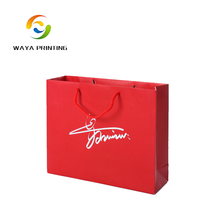 Recycled Handle customized red paper bag with your own logo