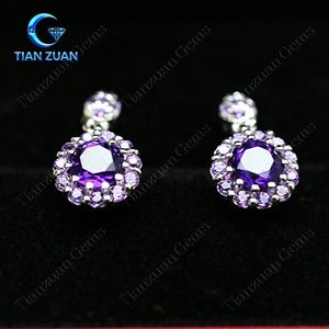 Natural Brazilian amethyst earrings with 925 silver