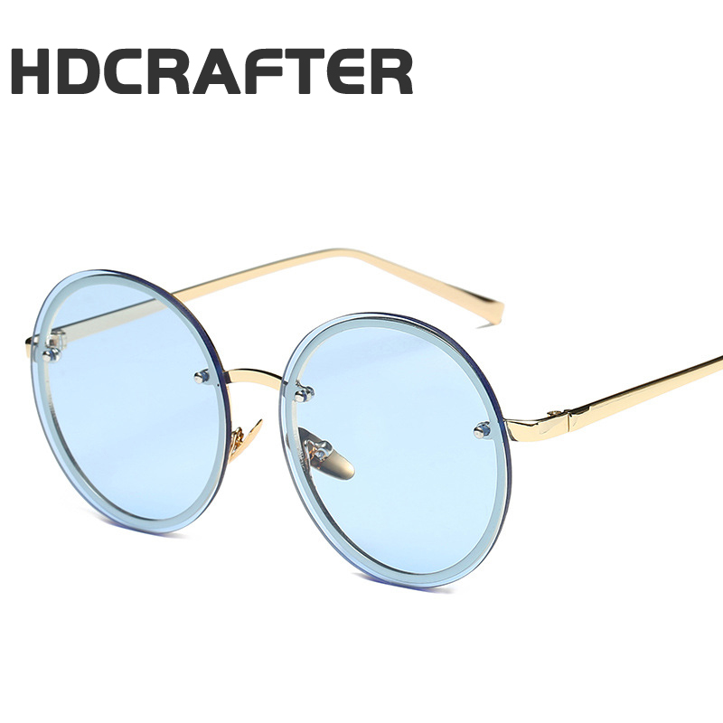 HDCRAFTER new round box ocean film <strong>sun</strong> men and women fashion personality sunglasses jelly color frame