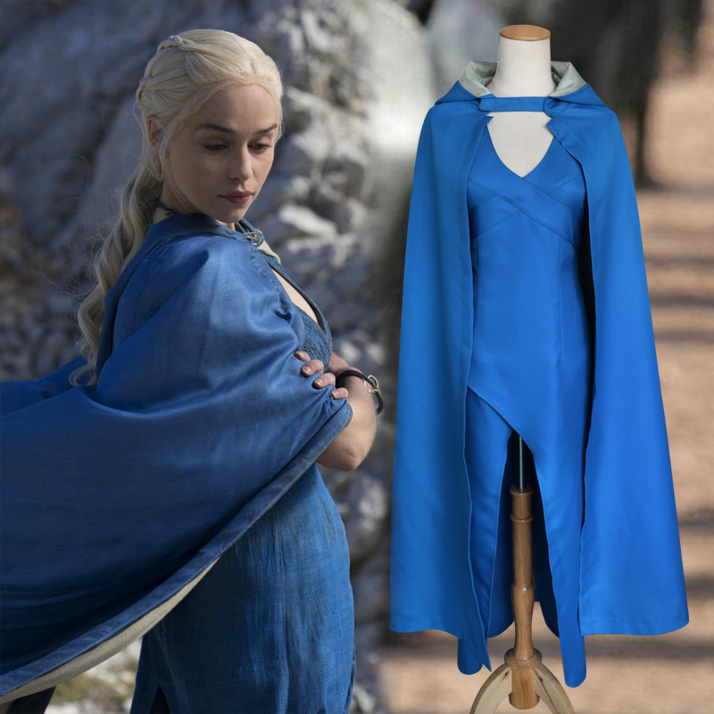 2019 Hot Koop Game Of Thrones cosplay blauwe cape kostuum