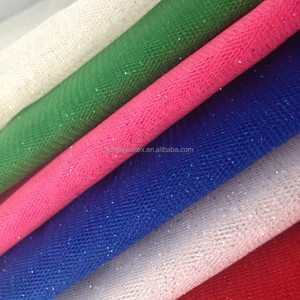 polyester material various colored cheap tulle with glitter