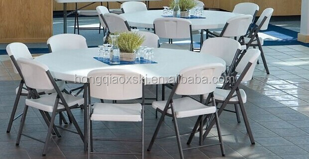 D.160cm Solid One Piece Top Strong Round Table, Easy To Store Folding